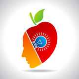 Human face with bulb, eco icon. With fruit idea Stock Images