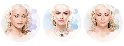 Human face in a collage. Young and healthy woman in plastic surgery, medicine, spa and face lifting concept collection. Royalty Free Stock Images