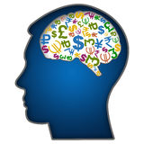 Human Face with Currency Symbols in Brain. Human head illustration with currency symbols in brain vector illustration