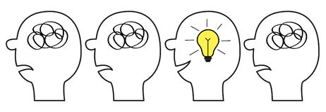 Human face icon set. Black line silhouette. Idea light bulb Scribble ravel in head inside brain. Mental health. Psychotherapy. Thinking process. Switch on lamp stock illustration