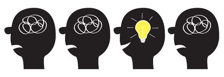 Human face icon set. Black silhouette. Idea light bulb Scribble ravel line in head inside brain. Mental health. Psychotherapy. Thinking process. Switch on lamp vector illustration