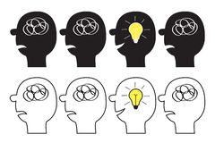 Human face icon set. Scribble ravel line in head inside brain. Psychotherapy. Black silhouette. Idea light bulb. Mental health. Thinking process. Switch on stock illustration