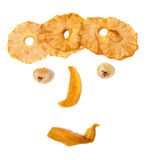 Human face imitation with dried fruits. Isolated on white background Royalty Free Stock Photo