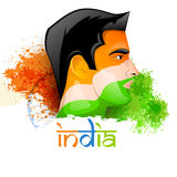 Human face for Indian Independence Day. Illustration of a young man face painted in national flag colors on Ashoka Wheel and splash background for Indian Vector Illustration
