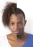 Human face made of African American man and woman against white background Royalty Free Stock Images