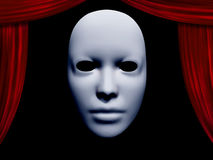 Human face mask and curtains Stock Images