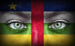 Human face painted with flag of Central African Republic royalty free stock images