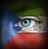 Human face painted with flag of Equatorial Guinea stock photography
