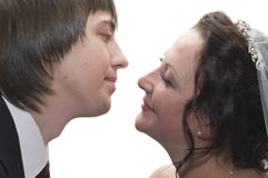 Human faces close to each other royalty free stock photos