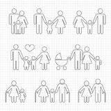 Human family line icons on notebook page design. Father and mother vector illustration Royalty Free Stock Images