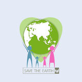 Human family protect the earth. Green Eco idea.Vector illustration.Earth day concept Stock Photography