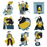 Human Fears Flat Icons Set stock illustration