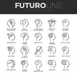 Human Features Futuro Line Icons Set. Modern thin line icons set of human mind features, characters profile identity. Premium quality outline symbol collection Royalty Free Stock Photo