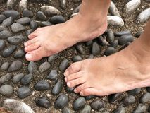 Human Feet. Walking a pebbles - foot-reflexology, to improve blood circulation Royalty Free Stock Images