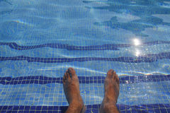Human feet in a pool Royalty Free Stock Photo