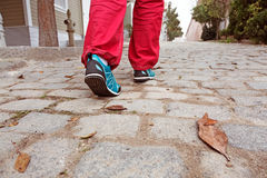 Human Feet walking on old paved Road with autumnal Leaves Royalty Free Stock Images