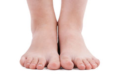 Human feet on a white background Royalty Free Stock Photography