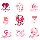 Human fetus hand-drawn vector emblems collection isolated on whi. Te. New life conceptual symbols. Pregnancy support and mother care abstract icons Royalty Free Stock Images
