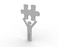 Human figure brandishing a jigsaw piece. On white background Stock Photos