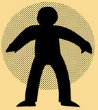 Human Figure Cartoon Over Brown. Backlit human figure over brown background with halftone circle Royalty Free Stock Image