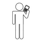 Human figure with cellphone device isolated icon. Vector illustration design stock illustration