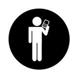 Human figure with cellphone device isolated icon. Vector illustration design vector illustration