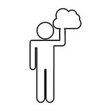 Human figure with cloud computing isolated icon Royalty Free Stock Image