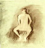 Human figure drawing in on texture paper Stock Photo
