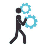 Human figure with gear machine isolated icon Royalty Free Stock Photos