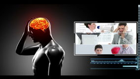 Human figure getting headache with clips of various reasons appearing Royalty Free Stock Photos