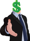Human figure with head in dollar. Holds out his hand in friendship Royalty Free Stock Images