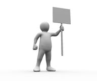 Human figure holding blank panel. On white background Royalty Free Stock Image