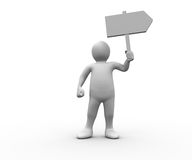 Human figure holding blank signpost Stock Images