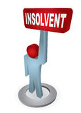 Human figure with insolvency table Stock Photos