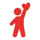 Human figure lifting heart silhouette icon. Vector illustration design Stock Photo