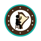 Human figure playing harp instrument isolated icon Stock Images