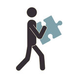 Human figure with puzzle game piece isolated icon Royalty Free Stock Photography
