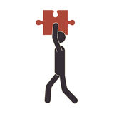 Human figure with puzzle game piece isolated icon Royalty Free Stock Image