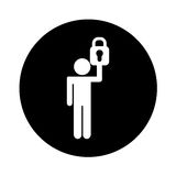 Human figure with safe padlock isolated icon. Vector illustration design Stock Photo