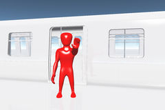 Human Figure Showing Stop Getting On Train 3D Royalty Free Stock Images