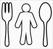 Human figure  with a spoon and a fork Royalty Free Stock Images