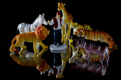 Human figure and toy animals Stock Photo