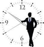 Human figure with transparent clock Stock Images