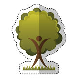 Human figure with tree plant ecological icon. Vector illustration design Stock Photography