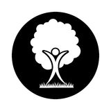 Human figure with tree plant ecological icon Stock Images
