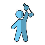 Human figure with water bottle Royalty Free Stock Photos