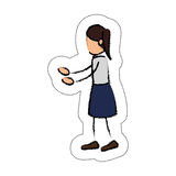 Human figure of woman icon. Draw of human figure of woman icon over white background.  illustration Stock Photo