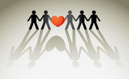 Human figures. In a row holding red heart - illustration Royalty Free Stock Photo