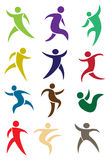 Human figures in action. In different colors. Vector illustration Royalty Free Stock Images