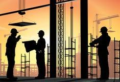Human figures builders. In the sky